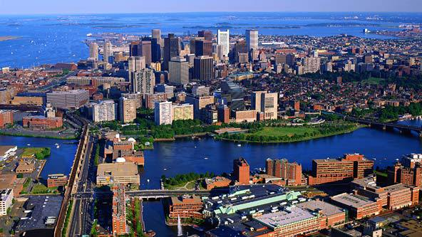 Aerial shot of Boston on a clear day. Photo courtesy of AOL Travel.