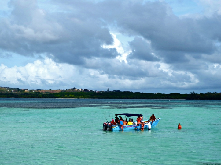 People hanging in Nylon Pool off the coast of Tobago. Photo by Wake and Wander.