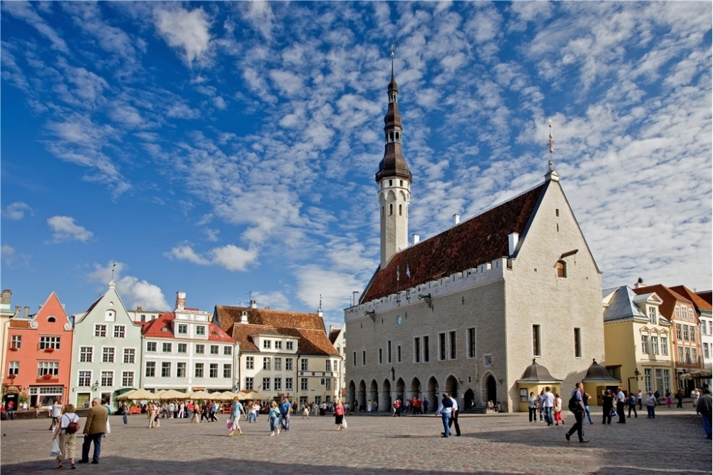 Town hall square in Tallinn, Estonia.