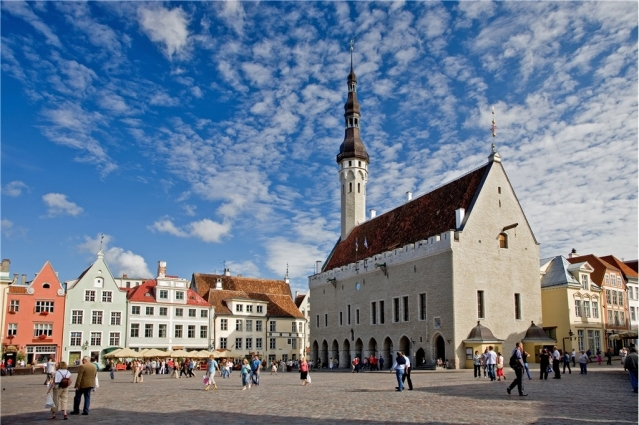 Town hall square in Tallinn, Estonia.