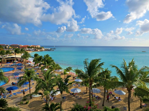 Maho Bay as seen from the Royal Islander Club on the Dutch side of St. Maarten.