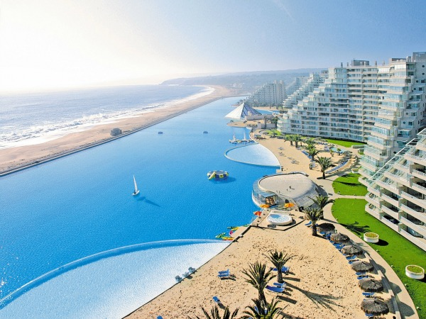 World's Largest Hotel Pool at San Alfonso del Mar in Chile.