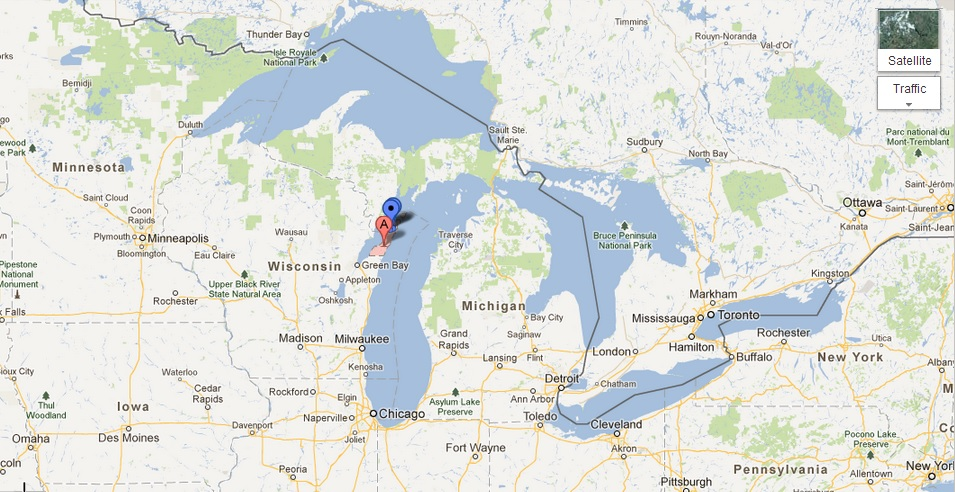 Map showing the location of Door County, Wisconsin.