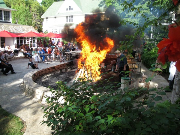 Flames fly high at Door County's traditional fish boil at the White Gull Inn.