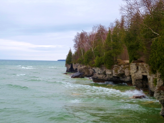 Cave Point County Park in Door County, Wisconsin. Photo by Wake and Wander.