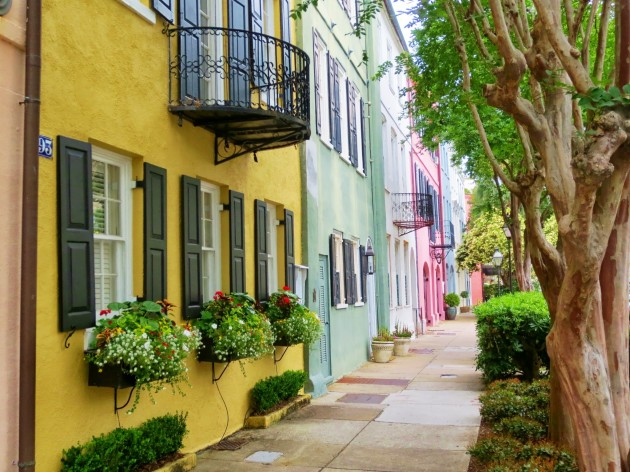 Rainbow Row in historical Charleston, South Carolina.
