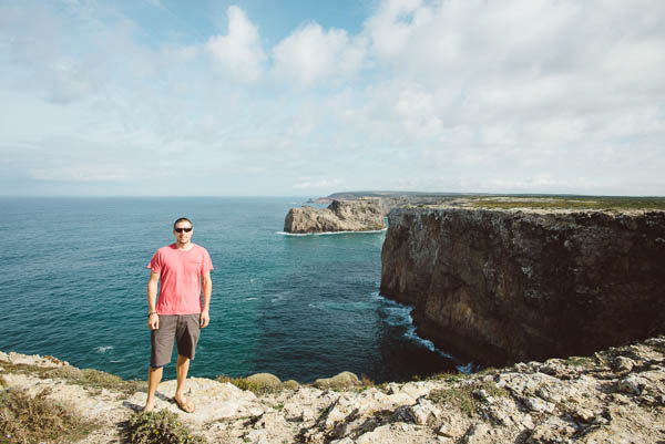 Yours truly at the cliffs of Cape Saint Vincent. Photo by Ryan Dearth.