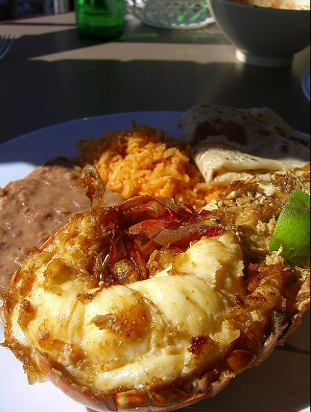Fried lobster in Puerto Nuevo, Baja California, Mexico.