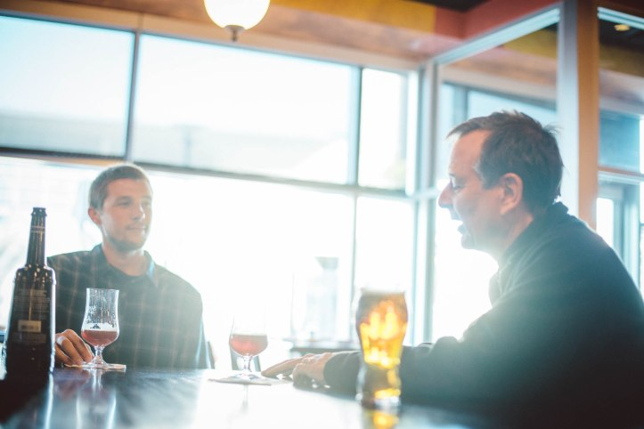 Will McGough of Wake and Wander interviews Jim Koch of Boston Beer Company.  Photo by Ryan Dearth.